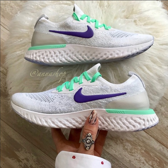 official photos 9e730 e0ffa NWT Nike epic react Flyknit Custom pure platinum